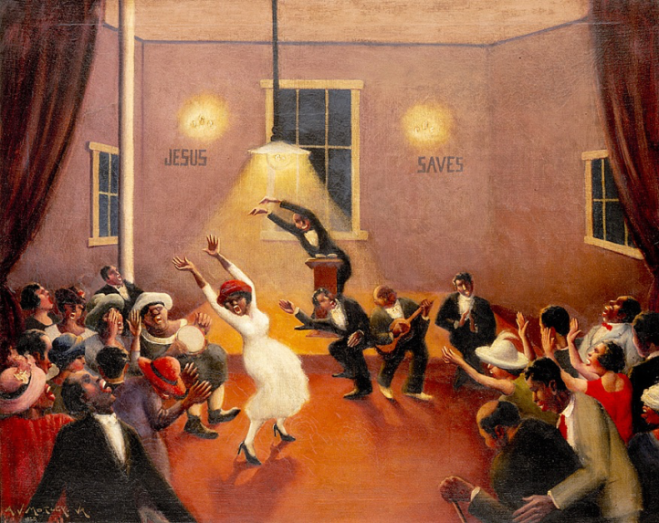 Archibald J. Motley Jr., Tongues (Holy Rollers), 1929, oil on canvas, Chicago History Museum